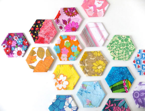 Paper-pieced hexies