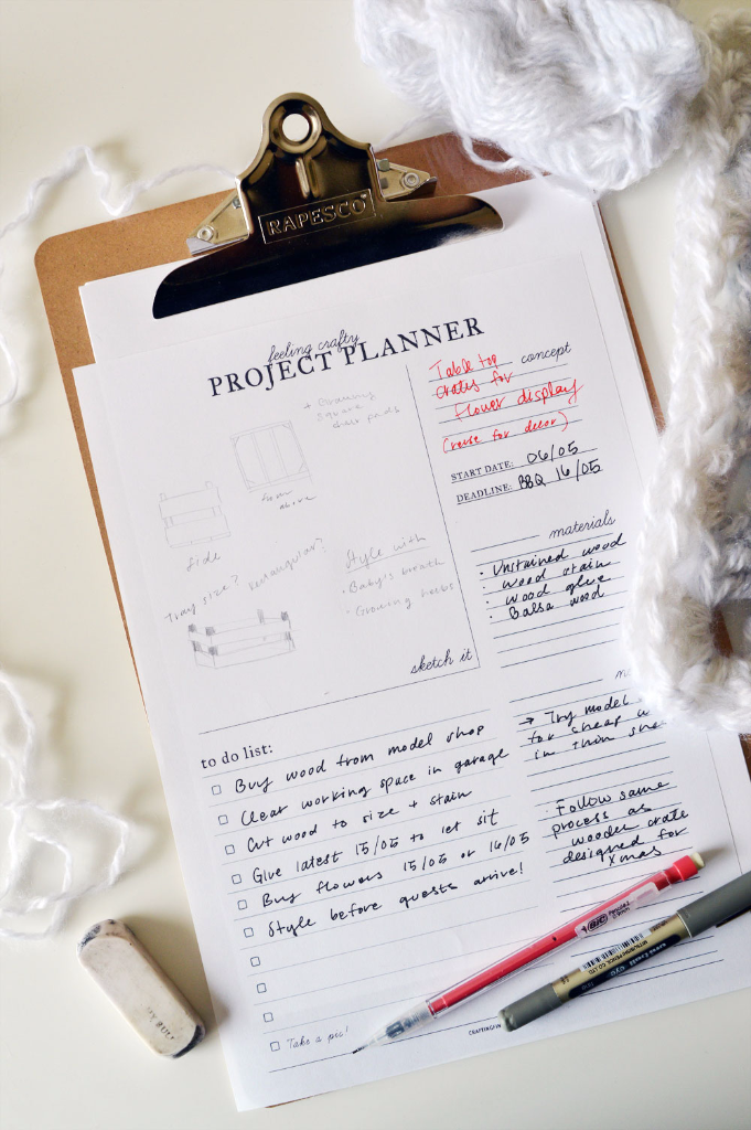 Craft Project Planning Sheets