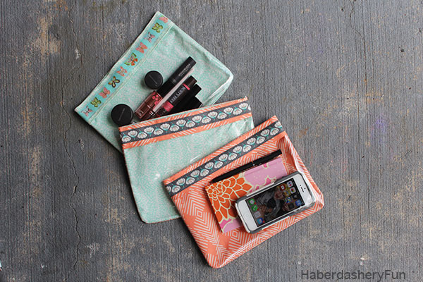 Vinyl and Ribbon Pouches by HaberdasheryFun