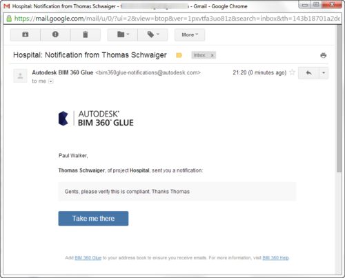 Email notification from BIM 360 Glue