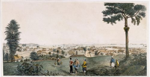 A view of Singapore published in 1830, just before the manuscript of the Sejarah Melayu was copied in Tanah Merah.  British Library, P1681.