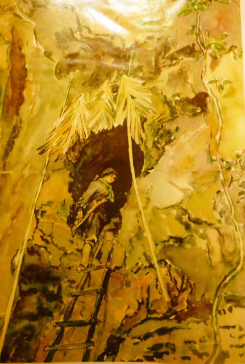 A guerrilla fighter returns to cosy shelter on Route 9. Pastel. Artist: Huỳnh Biếc. Báo Ảnh Việt Nam, 1971, no.159. British Library, SU216(2)