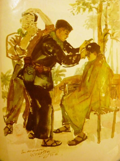 After the battle. Watercolour. Artist: Việt Sơn. Báo Ảnh Việt Nam, 1971, no.161. British Library, SU216(2)