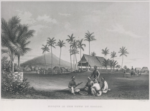 A mosque in Sulu, from Narrative of the United States Exploring Expedition, 1844.  British Library, 10001.d vol.5, opp. p. 354.