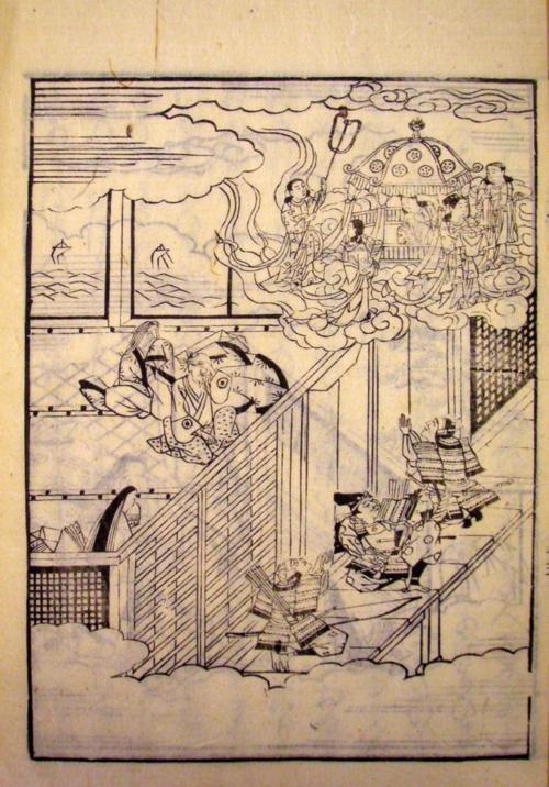 Princess Kaguya returns to the moon. The Tale of the Bamboo Cutter (繪入竹とり物語, Eiri Taketori monogatari), printed book, prob. 18th century. British Library, 16055.c.31.