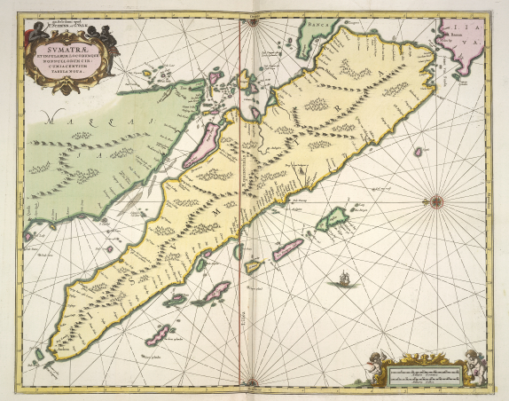 Sumatra (in yellow) and part of the Malay peninsula (in green) and Java (in red). From a maritime atlas for navigating from the Cape of Good Hope to the Far East. Amsterdam, 1722. British Library, Maps.C.12. f.3, 27