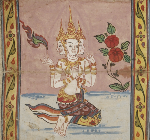 The god Brahma, characterised by his four faces. Illustration from an 18th century Thai manuscript containing a text on the Great Qualities of the Buddha, British Library, IO Pali 207, f. 27