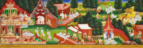 The Bodhisatta, Dhanañjaya Korabya, king of Kururatha and his people observed the five precepts, Kurudhamma, and their country enjoyed good weather and good harvests, while the people lived peacefully and freed from diseases. British Library, Or. 4542B, ff. 147-152