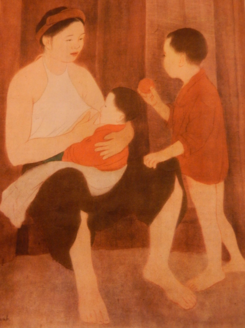 Mother and Son, 1957, silk painting by Nguyễn Phan Chanh. Nguyễn Phan Chanh abandoned silk painting during the Resistance War against the French and produced posters to support war efforts. He returned to his traditional painting after the Resistance War. Việt Nam, 7(46), 1961, p.[12]. British Library, SU216