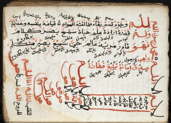 List of the Twenty Attributes (Sifat Dua Puluh), with Malay translations, in a manuscript from Aceh, 19th century. British Library, Or. 16767, f.103v