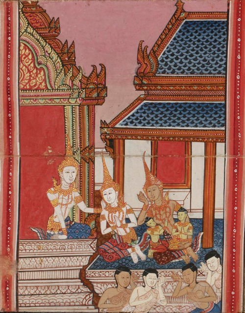 19th century folding book from Central Thailand containing a collection of Buddhist texts and illustrations from the Ten Birth Tales. British Library,Or 16552, f. 26