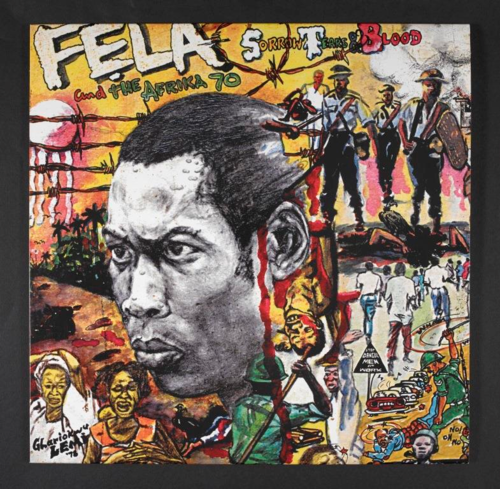 Cover of Fela Kuti's album Sorrow, Tears & Blood by Lemi Ghariokwu. Courtesy of and © Lemi Ghariokwu. 1LP0236386