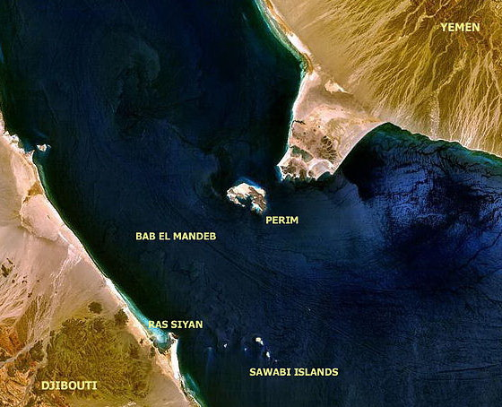 1A satellite image showing the Bab el Mandeb Strait, which separates the Gulf of Aden from the Red Sea. Source: NASA, through Wikimedia Commons
