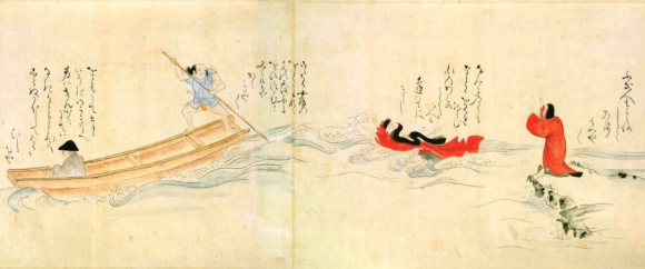 Kiyohime chases Anchin as he flees across the Hidaka River in his boat. Dōjō-ji emaki 道成寺絵巻. Manuscript scroll. National Diet Library