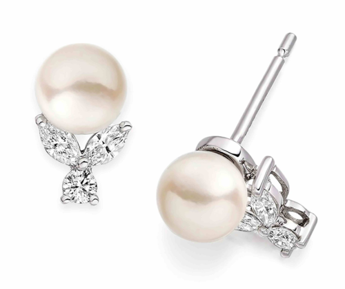 Vashi.com Diamond and Freshwater Pearl Earrings in 18k White Gold low res