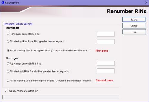 Renumber RINs dialog box