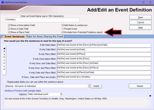 Excluding an event from PP checking