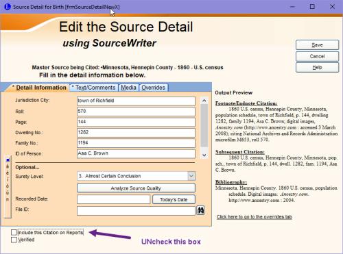 Citation Detail screen