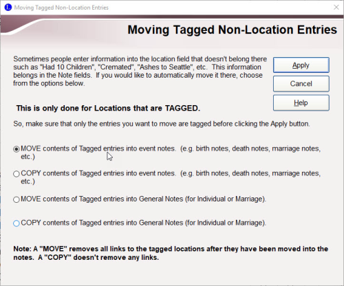 Moving Tagged Non-Locations Entries