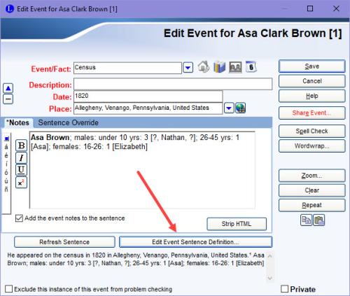 Edit Event screen