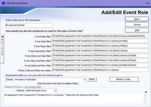 Add/Edit Event Role screen