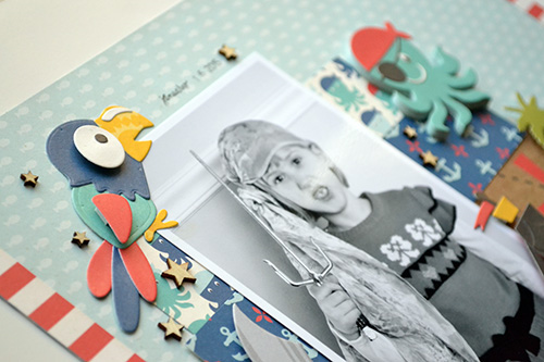 """I'm a Pirate layout by Aly Dosdall with the """"Pirate's Life"""" collection and designer dies by #EchoParkPaper"""