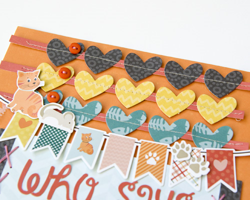 """Catnap """"Meow"""" layout by Tegan Skwiat for #EchoParkPaper featuring designer dies, designer stamps, and more!  Tutorial for heart embellishments included in the blog post."""