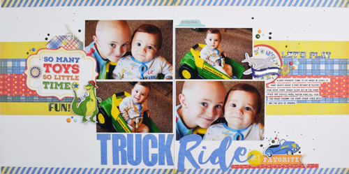 "Truck Ride 2 page layout by Becki Adams with the ""Toy Box"" Collection by #CartaBellaPaper"
