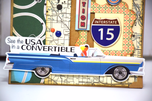 "USA Convertible card by Tya Smith with the ""Are We There Yet?"" Collection kit by #CartaBellaPaper"