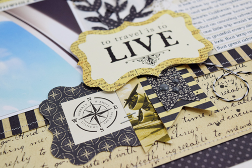 "To Travel is to Live Layout by Becki Adams with the ""Transatlantic Travel"" collection from #CartaBellaPaper"