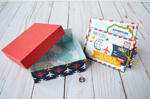 "Use the ""Go See Explore"" collection from #EchoParkPaper to create this sweet little gift box by @WendySueA"