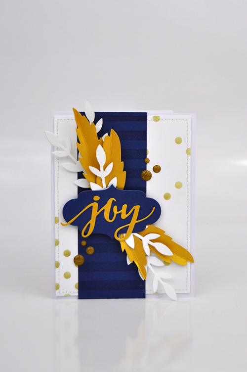 Joy Stenciled Background Card #EchoParkPaper #CartaBellaPaper
