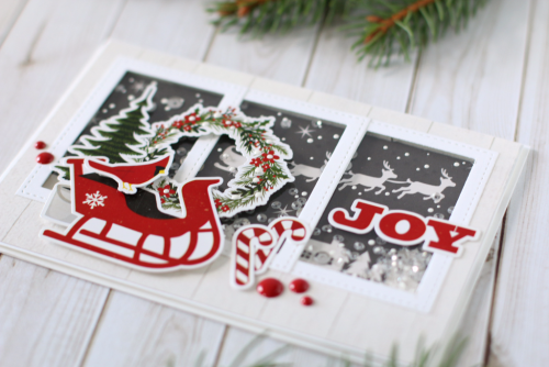 "Joy Christmas card by Anya Lunchenko for #EchoParkPaper with the ""A Perfect Christmas"" collection and designer dies"