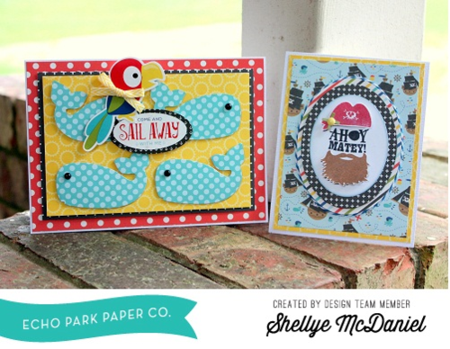 "Pirates Life Card Set by Shellye McDaniel featuring the ""Pirate's Life"" Collection and designer stamps & dies by #EchoParkPaper"