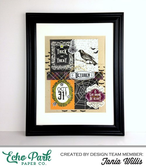 """Framed Halloween Art by Tania Willis with the """"Hocus Pocus"""" collection by #EchoParkPaper"""