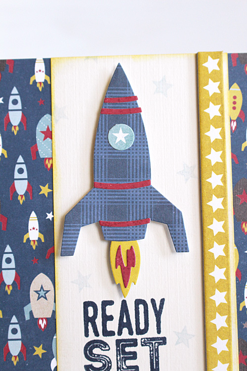 "Rocket card by Kimberly Crawford featuring the ""Pinstripes"" collection, designer stamps, and designer dies by #EchoParkPaper"