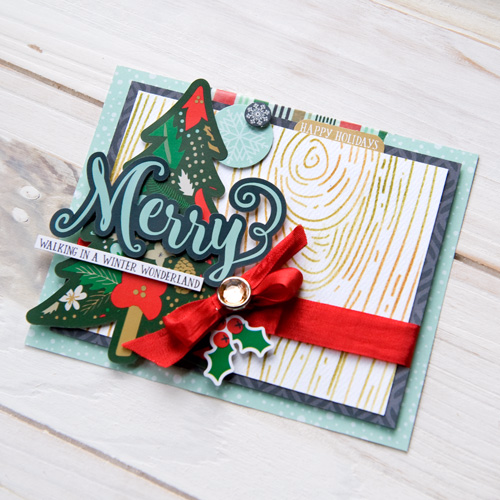 """A Week of Christmas Cards Day 4 """"Merry"""" card by Tegan Skwiat featuring the """"Deck the Halls"""" Collection and designer stencil by #EchoParkPaper"""