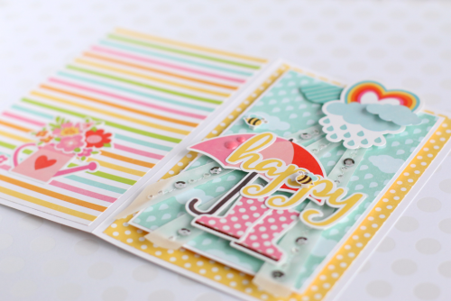 "Anya Lunchenko created this Happy card with the ""Celebrate Spring"" collection kit by #EchoParkPaper!"