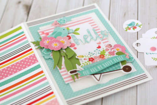"""Hello, You Are My Happy Place Card by Anya Lunchenko with the """"Hello Spring"""" collection kit by #EchoParkPaper"""