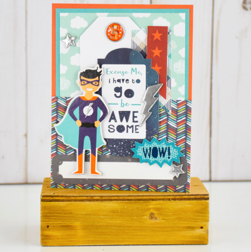 """Superhero card by Tya Smith featuring the """"Imagine That Boy"""" collection by #EchoParkPaper"""