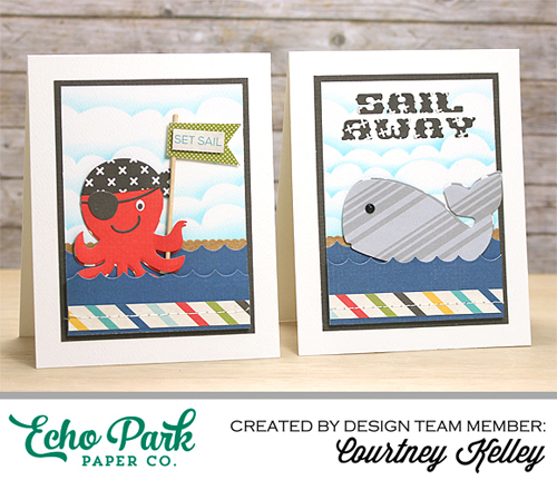 "Sail Card Set by Courtney Kelley featuring the ""A Pirate's Life"" collection and designer dies by @EchoParkPaper"