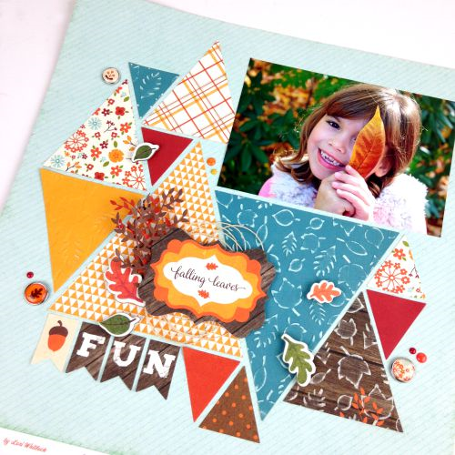 """Falling Leaves"" layout by Tania Willis with ""The Story of Fall"" collection by #EchoParkPaper.  Tania used designer embossing folders to add texture to the leaves on her layout!"