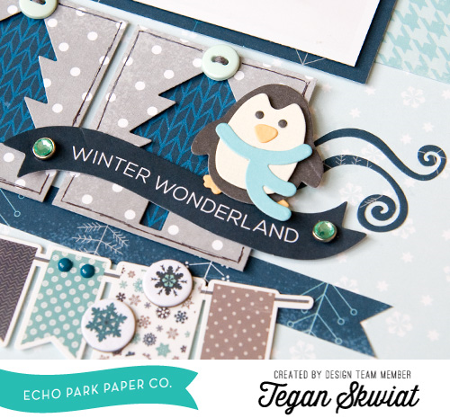 "This scrapbook layout by Tegan Skwiat features DIY Embellishments with the Designer Dies from the ""Hello Winter"" collection by #EchoParkPaper.  The blog post has a tutorial for making the tree and penguin embellishments!"