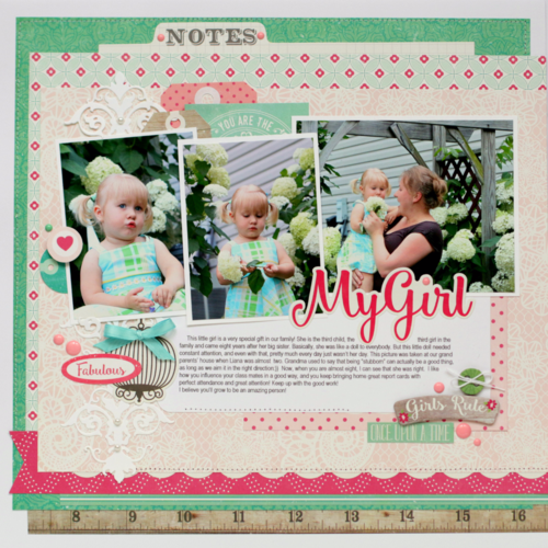 """""""My Girl"""" layout by Anya Lunchenko featuring the """"Petticoats"""" collection and designer dies by #EchoParkPaper"""