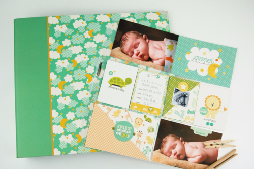 """Its a Boy"" Album and Pocket Page Kit Layout by Tegan Skwiat for #EchoParkPaper"