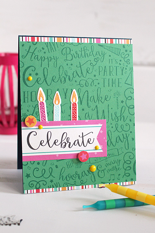 """Celebrate card by Kimberly Crawford with the """"Party Time""""  collection and designer dies and stamps by #CartaBellaPaper"""