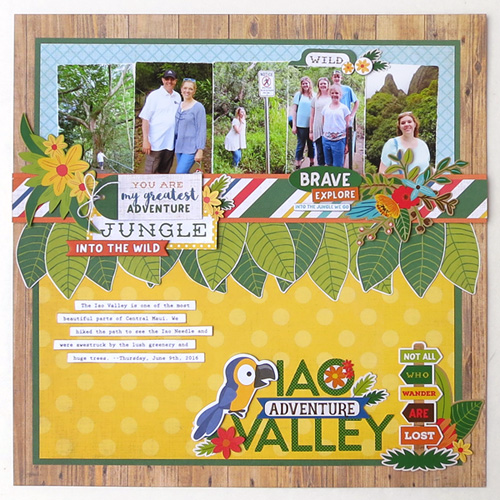 "Scrapbook layout by Jana Eubank with the ""Jungle Safari"" collection by #EchoParkPaper"