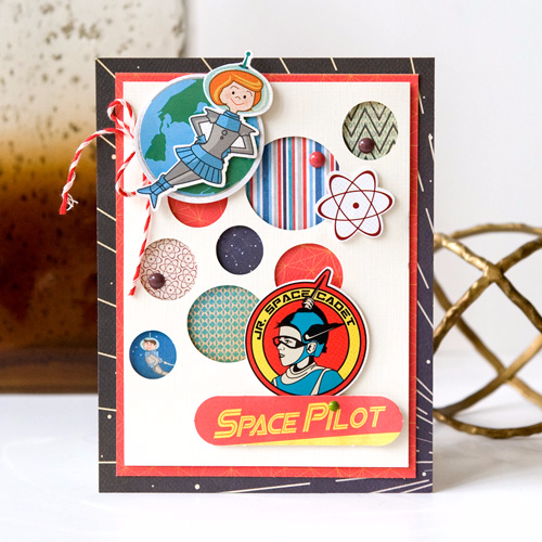 """Create an out of this world card like this one by Tegan Skwiat with the """"Space Academy"""" collection by #CartaBellaPaper"""