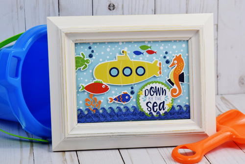 """Down by the Sea"" framed art by Becki Adams featuring the ""Under the Sea"" Collection and Designer Dies by #CartaBellaPaper"