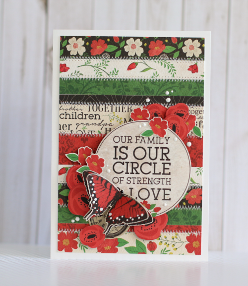 "Paper Strips Quilt Card by Anya Lunchenko with the ""Our Family"" Collection from #CartaBellaPaper"